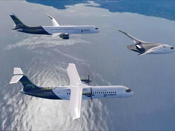 Recreación virtual de los tres modelos de Airbus que funcionan con hidrógeno