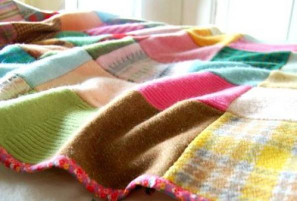 C mo hacer una manta de patchwork con retales de lana el for Mantas de lana hechas a mano
