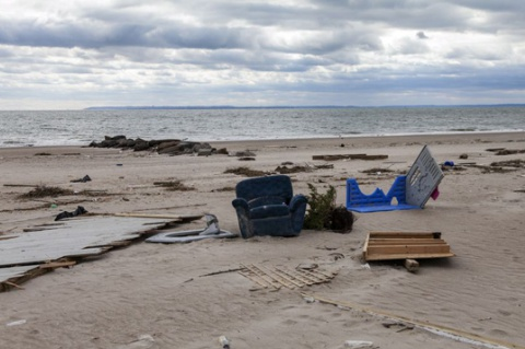 Destrozos en Nueva York tras el huracán Sandy.